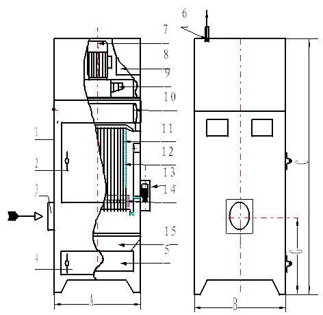 PL单机布袋除尘器(A型)结构简图